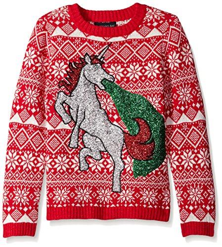 Blizzard Bay Big Boys' Glitter Vomit Unicorn, Red/White, Small (Kids Ugly Christmas Sweater)
