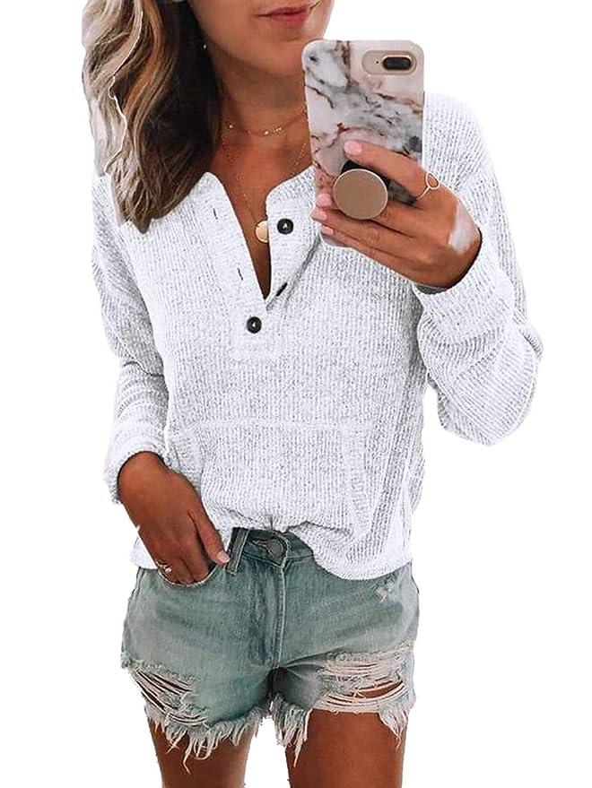 Amazon.com: Famulily - Camisa de manga larga con botones y ...