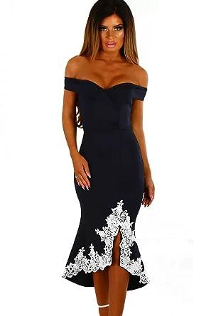 Prime Leader Navy Crochet Hem Bardot Midi Dress at Amazon Women s ... 284876ffb207