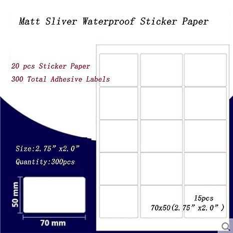 Amazon.com: 20 unidades de papel adhesivo resistente al agua ...