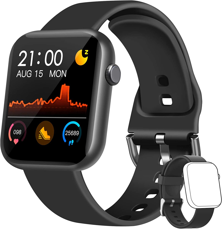 WWDOLL Smartwatch, 1.3 Pulgadas Reloj Inteligente Hombre, Reloj Deportivo con Pulsómetro, Cronómetro, Presión Arterial, Calculadora, Monitor de Sueño, IP67 Smart Watch para Android iOS