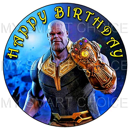 - 7.5 Inch Edible Cake Toppers - Avengers Infinity War: Thanos Themed Birthday Party Collection of Edible Cake Decorations