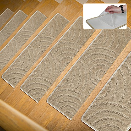 Lonnie Life Anti-Skid Carpet Stair Treads,No Glue But Self Adhesive,Be Used Repeatedly,Soft and Wear-Resisting,Set of 13 Non-Slip Stair Treads Rugs Mats Bubber Backing(8 inch x 30 inch),Sandy Beige