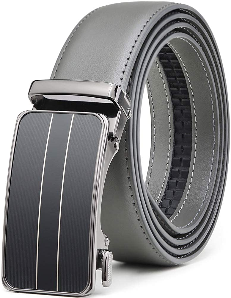 Belt for Men,Leather Ratchet Click Dress Belt With Automatic Slide Buckle Adjustable-35mm Wide