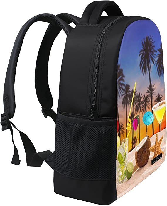 Coconut Cocktail Print Laptop Backpack High School Bookbag Casual Travel Daypack