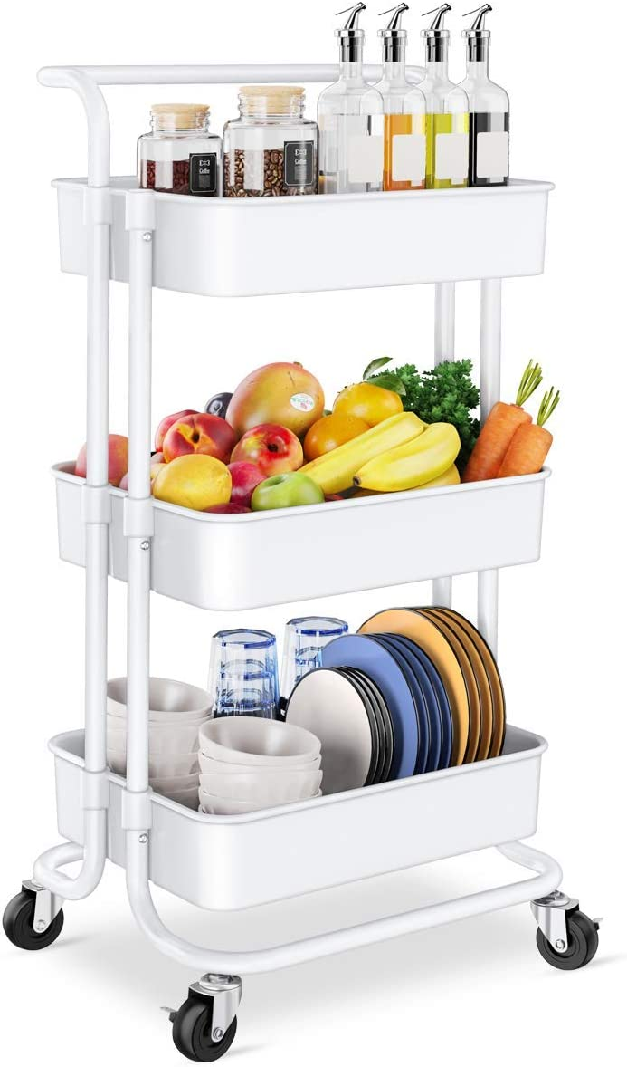 Homemaxs 3 Tier Rolling Utility Storage Cart with Handles and Roller Wheels Craft Cart for Kitchen, Coffee Bar, Microwave Cooking Station, Storage, Office, Bathroom (White