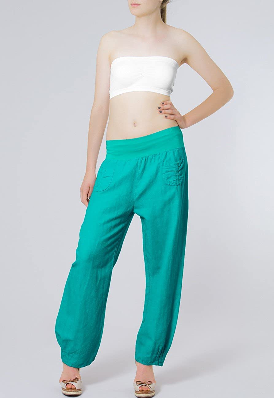 Caspar KHS006 Pantalon l/éger Large en Lin pour Femme Pantalon en Tissu avec Large Bande Stretch /à la Taille Taille S /à XXXL