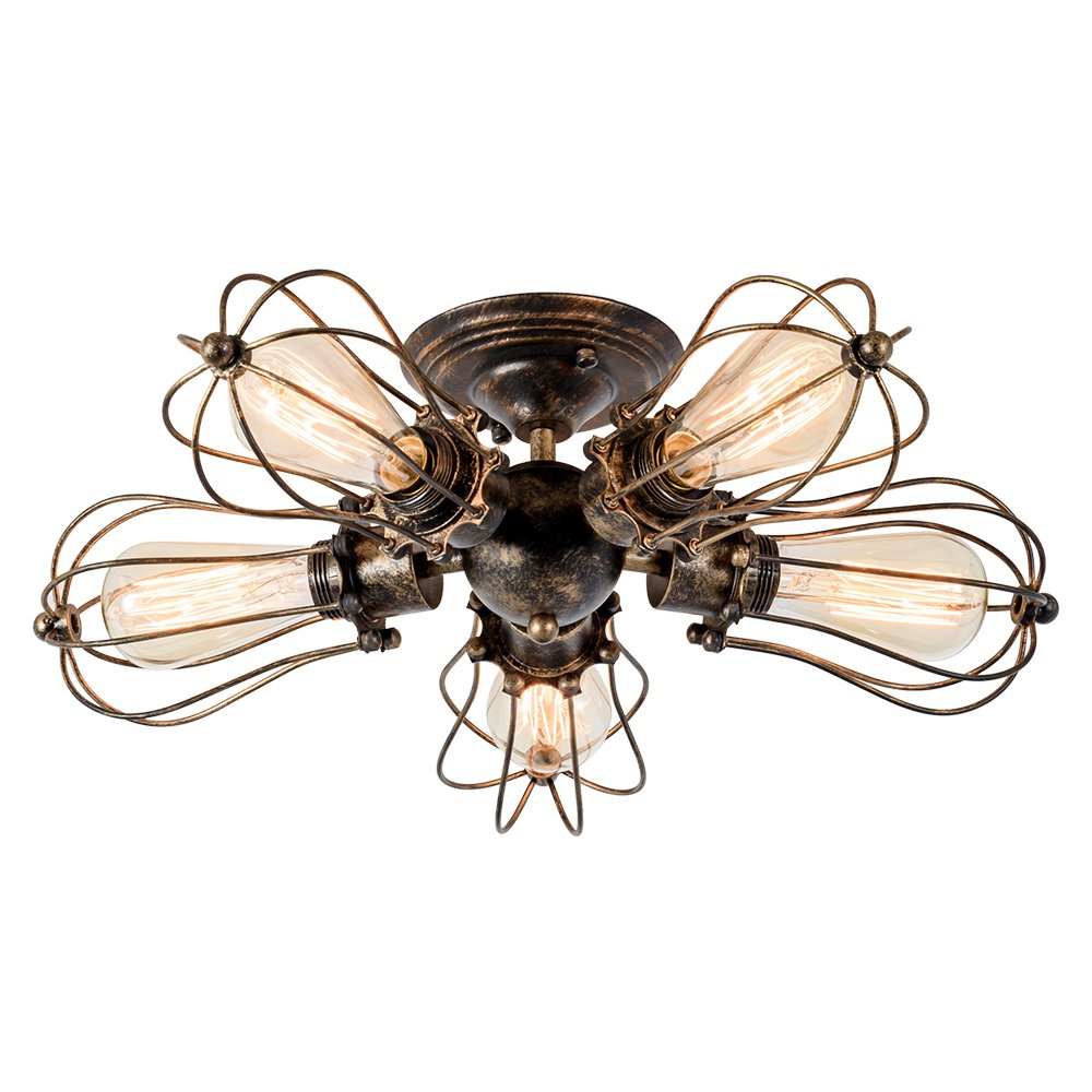 With 5 Light Bronze Vintage Ceiling Light Industrial Semi-Flush Mount Ceiling Light Metal Fixtures Painted Finish; Moonkist