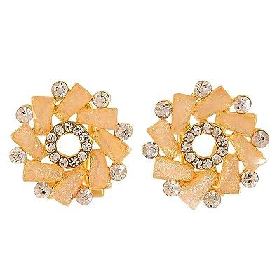 851ce7de954704 Buy Maayra Designer Earrings Peach Ear Studs Office Casualwear Earrings  Online at Low Prices in India | Amazon Jewellery Store - Amazon.in