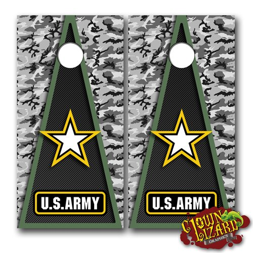 CL0060 Army CORNHOLE LAMINATED DECAL WRAP SET Decals Board Boards Vinyl Sticker Stickers Bean Bag Game Wraps Vinyl Graphic Image Corn Hole Military Armed Forces Navy Airforce Marines Coast Guard by Clown Lizard Graphics