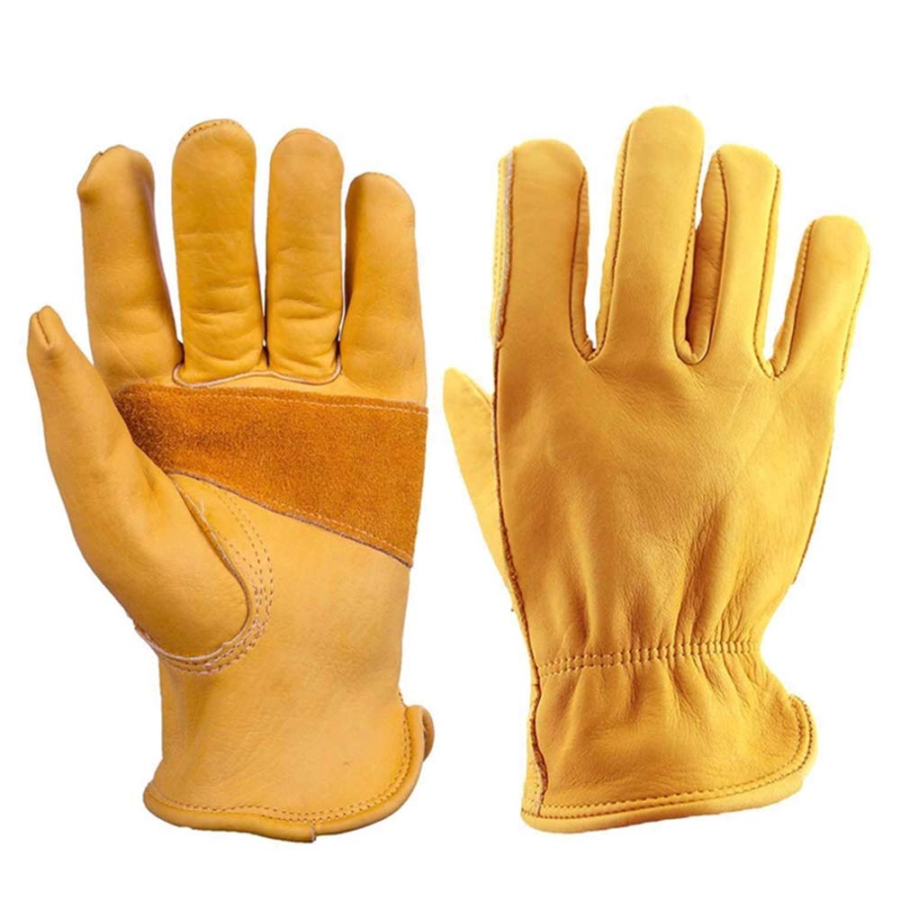 Flex Grip Leather Work Gloves, 1 Pair Gardening Gloves Thorn Proof, Stretchable Tough Leather Working Glove, Leather Gardening Gloves with Tough Grip for Men & Women, Fishing, Construction, Restoration(M) Soldmore7