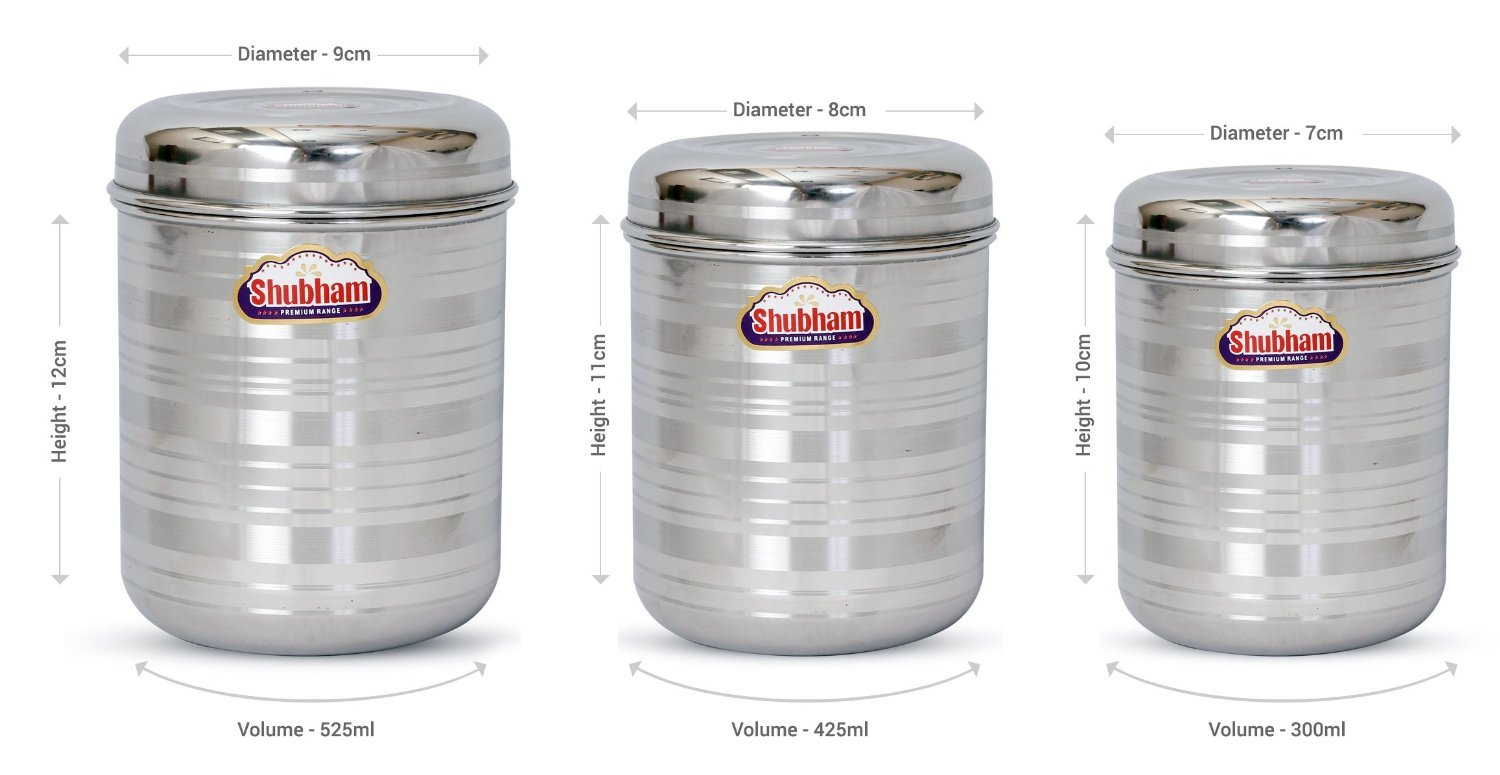 d68c17f80a3 Buy Shubham Kitchen Storage Steel Container 3 Pcs Set 300 to 525 ml S7-9  Online at Low Prices in India - Amazon.in