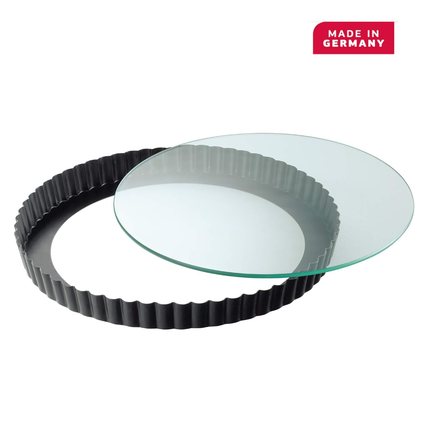 Kaiser Bakeware Quiche and Tart Pan with Glass Floor Elevator 11 Inches by Kaiser