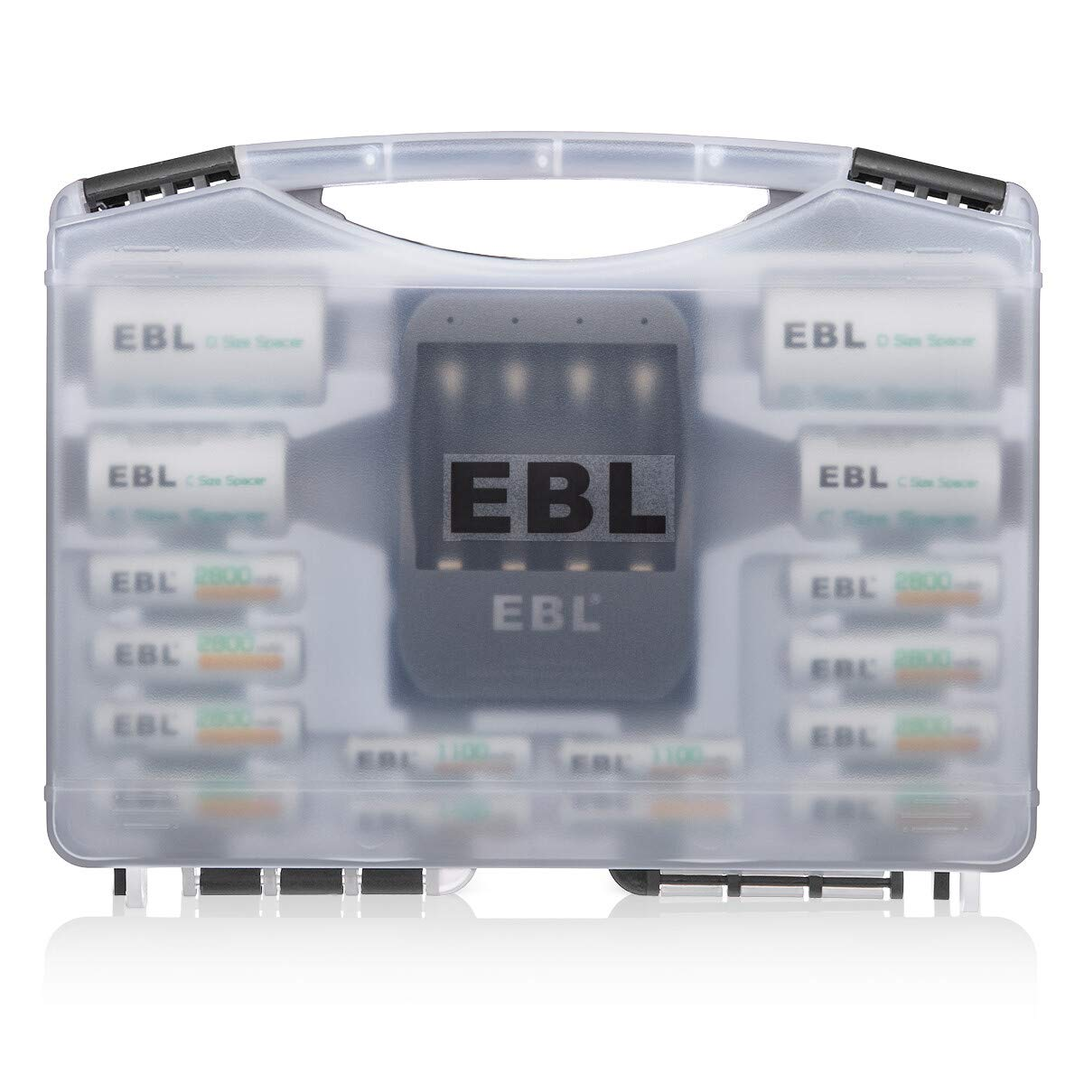 EBL Black Batteries Box Include : Rechargeable 8 AA Batteries + 4 AAA Batteries + 40Min iQuick Battery Charger and 2Pcs C/D Converters with Battery Storage Organizer by EBL