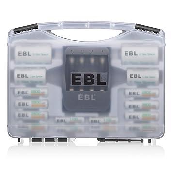 EBL - Juego de 2 Pilas Recargables EBL Combo (8 Pilas AA + 4 ...