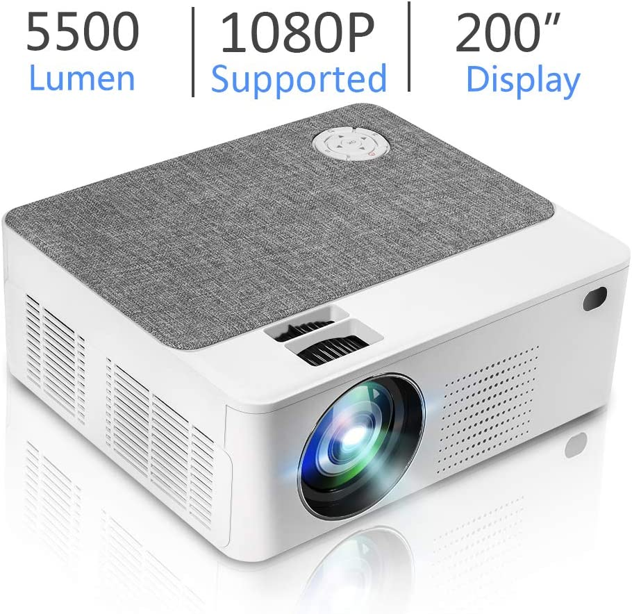 """Upgraded Mini HD Projector with 5500 Lux Full HD 1080P 200"""" Video Projector, Home & Outdoor Movie Projector Compatible with Fire TV Stick, Smartphone, HDMI,VGA,AV and USB"""