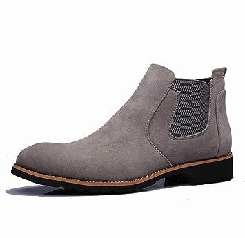 DANDANJIE Zapatos de Confort para Hombre 2018 Otoño Invierno Botines de Estilo británico Botines Negro Gris: Amazon.es: Deportes y aire libre
