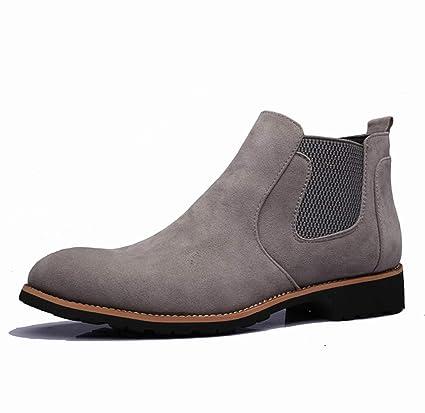 DANDANJIE Zapatos de Confort para Hombre 2018 Otoño Invierno Botines de Estilo británico Botines Negro Gris