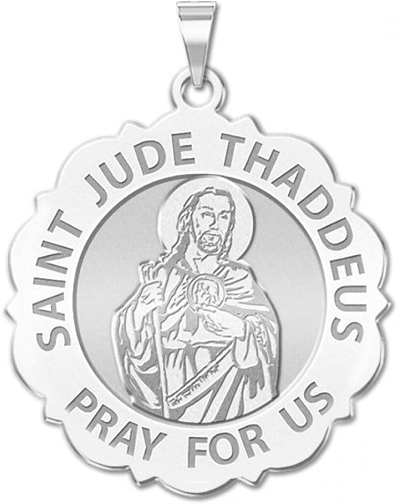 PicturesOnGold.com Saint Jude Scalloped Religious Medal 3//4 Inch Size of a Nickel Sterling Silver