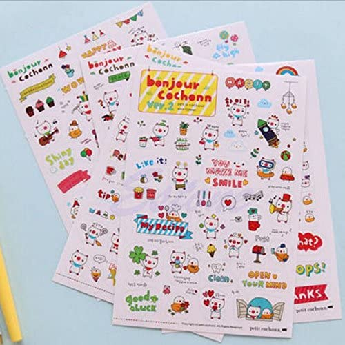 6 Sheets Retro Stamp Stickers DIY Scrapbook Ablum Diary Planner Paper Decoration