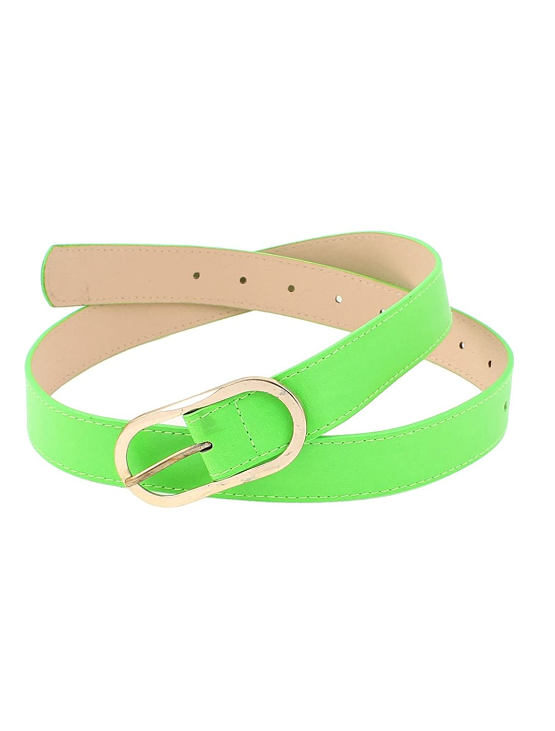 uxcell Woman Faux Leather Coated Metal Single Prong Buckle Waist Belt Green