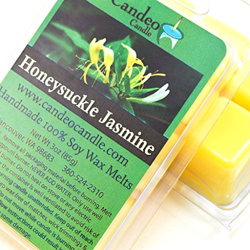 Honeysuckle Jasmine, Super Scented Soy Melt Cubes, Pack of 2- Use in Tart Warmers, Tea Light Warmers, Oil Warmers or Scentsy Warmers!