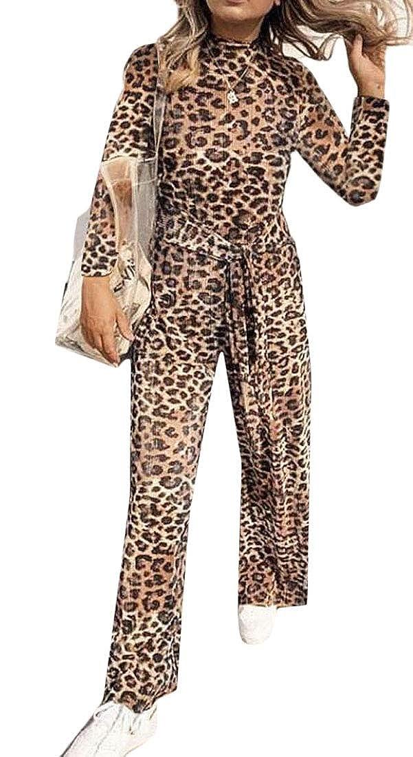 Cromoncent Womens Leopard Print Loose Wide Leg Fall//Winter Romper Jumpsuit