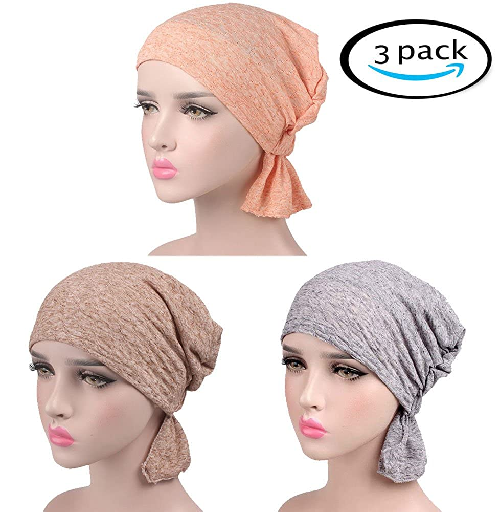 Chemo Caps Hats Head Turban Wraps Women Cotton Beanie Slouch Cap, 3 Pack headwrap