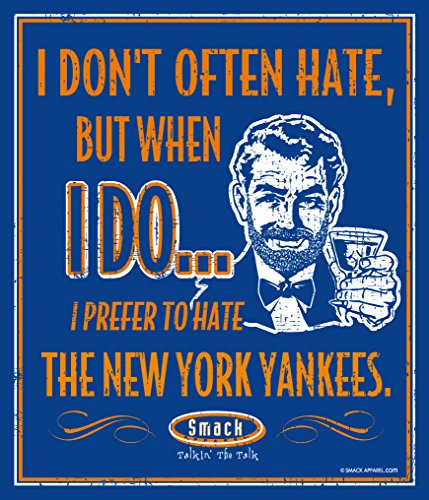 (Smack Apparel NY Mets Fans. I Prefer to Hate The New York Yankees 12'' X 14'' Metal Man Cave Sign)