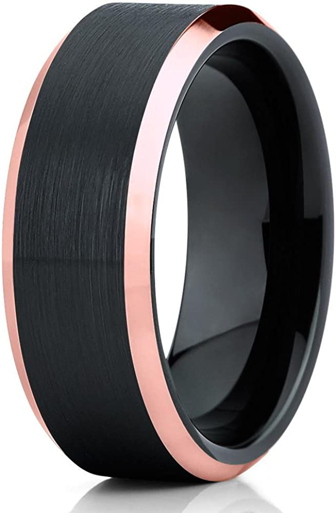 Silly Kings Black Tungsten Wedding Band,Black Tungsten Wedding Ring,Rose Gold Tungsten Ring,Men & Women,Comfort Fit