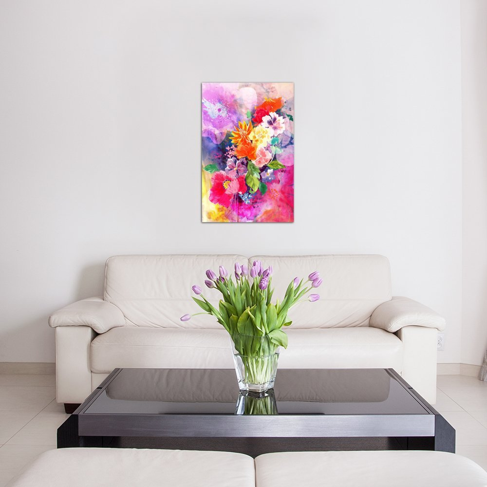 1.5 by 60 by 40-Inch iCanvasART 3-Piece Spring Flowers Canvas Print by DarkLord