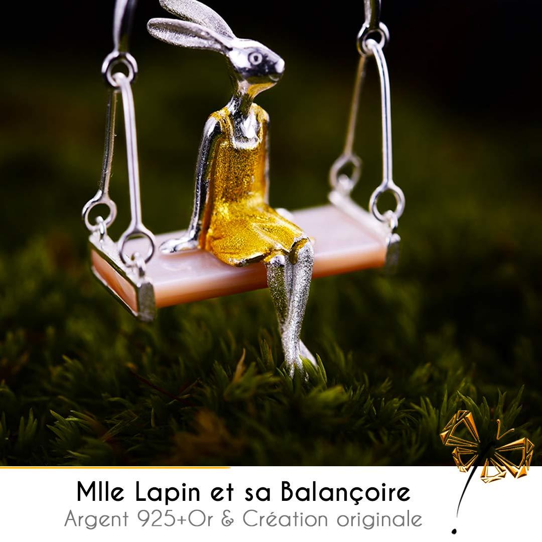 AG Artgosse Mlle Lapin et sa balan/çoire en Coquillage Naturel cr/éation Originale en Argent 925 fabriqu/é /à la Main Pendentif Hand-Made avec cha/îne pour Femme.