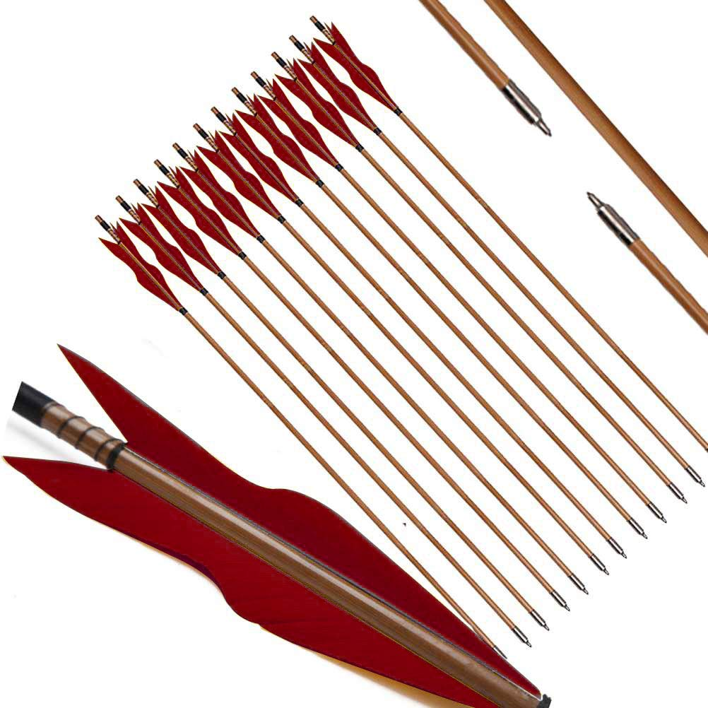 PG1ARCHERY Archery Bamboo Arrows, 32 inch Traditional Hunting Practice Target Arrow 5'' Turkey Feathers Fletching for Recurve Bow Longbow Red(Pack of 12)