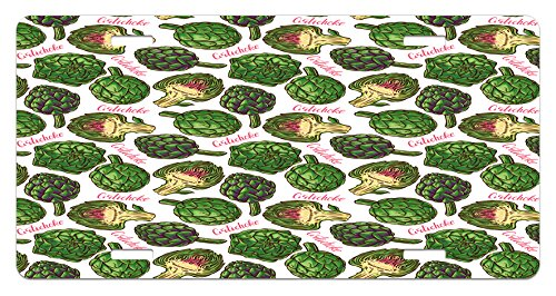 Ambesonne Artichoke License Plate, Hand Drawn Super Food with Vibrant Colors Cooking Inspired Art, High Gloss Aluminum Novelty Plate, 5.88 L X 11.88 W Inches, Hunter Green and Fern - Aluminum Color Hunter Green