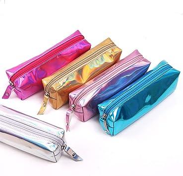 Shager - 1pcs Chicas Niños Niñas Estuches , Brillante Láser Cuero Lápiz Cosmética con Cremallera Caja Case Escolar 20*5*6cm (Silver): Amazon.es: Juguetes y juegos