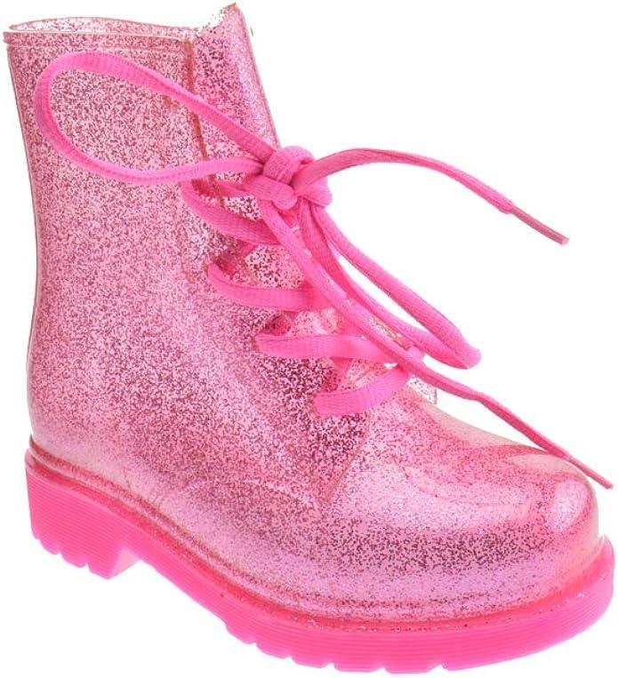 Mid Calf Combat Boots Glitter Pink