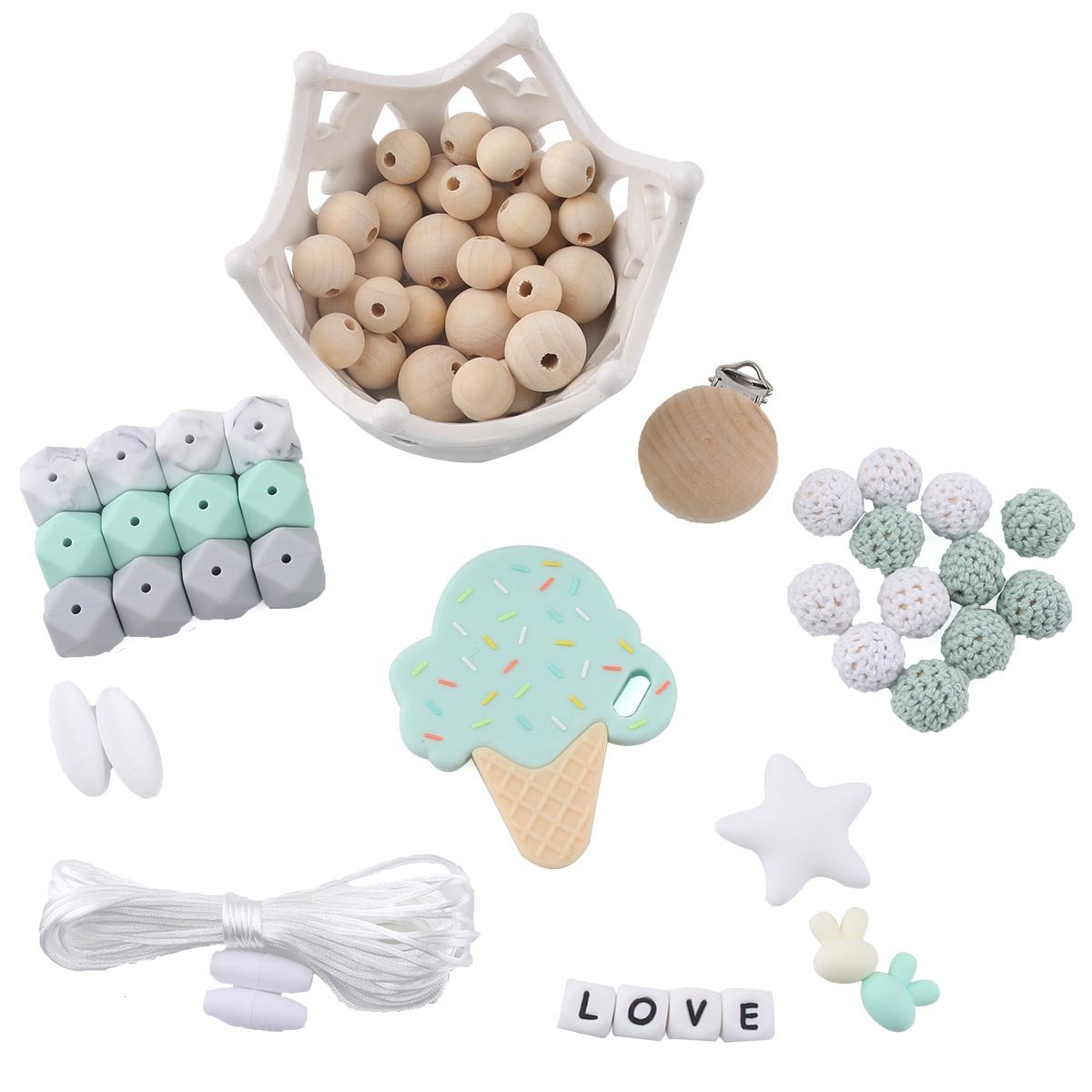 HAO JIE Baby Wooden Beads DIY Necklace Teether Baby Play Gym Teething Toys Storller Accessories Unfinished Octopus Wooden Toy Car Hanging