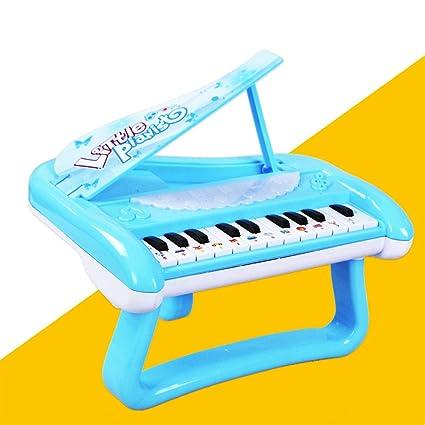 XuBa Triángulo Electrónico Teclado Piano Juguete Música de Dibujo Luz Ligera Juguete Educativo Niños Niñas Azul