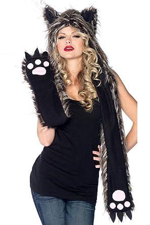 f9c49cd8053 Mystiqueshapes Animal Thermal Hoodie Hood Faux FUR (Plush Wolf ...