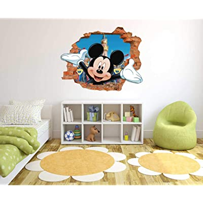 "Mickey Mouse - 3D Smashed Wall Effect - Wall Decal for Home Nursery Decoration (Wide 20""x16"" Height inches): Home & Kitchen"