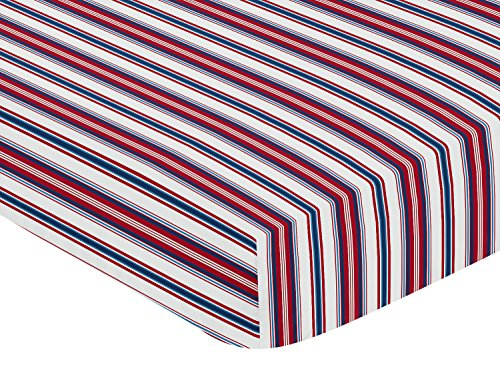 - Sweet JoJo Designs Red, White and Blue Striped Baby Or Toddler Fitted Crib Sheet for Baseball Patch Sports Collection