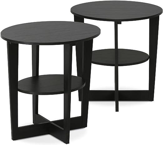 Amazon Com Furinno End Table Two Walnut Furniture Decor