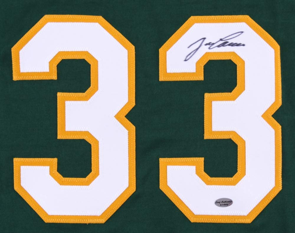 Jose Canseco Autographed Green Oakland Athletics Jersey Hand Signed By Jose Canseco and Certified Authentic by Leaf Includes Certificate of Authenticity