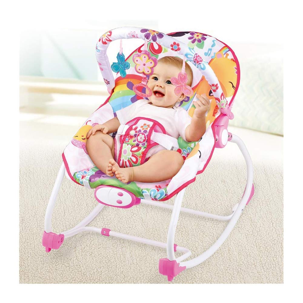 JFMBJS Baby Rocking Chair with Hanging Toys and Musical Melodies Soothing Vibration, Baby Bouncer Reclining Chair with Adjustable Seat Belt by JFMBJS