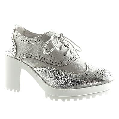 f110f97f04f5f Angkorly - Chaussure Mode Richelieu Plateforme Femme perforée Brillant Talon  compensé Plateforme 7.5 CM - Argent