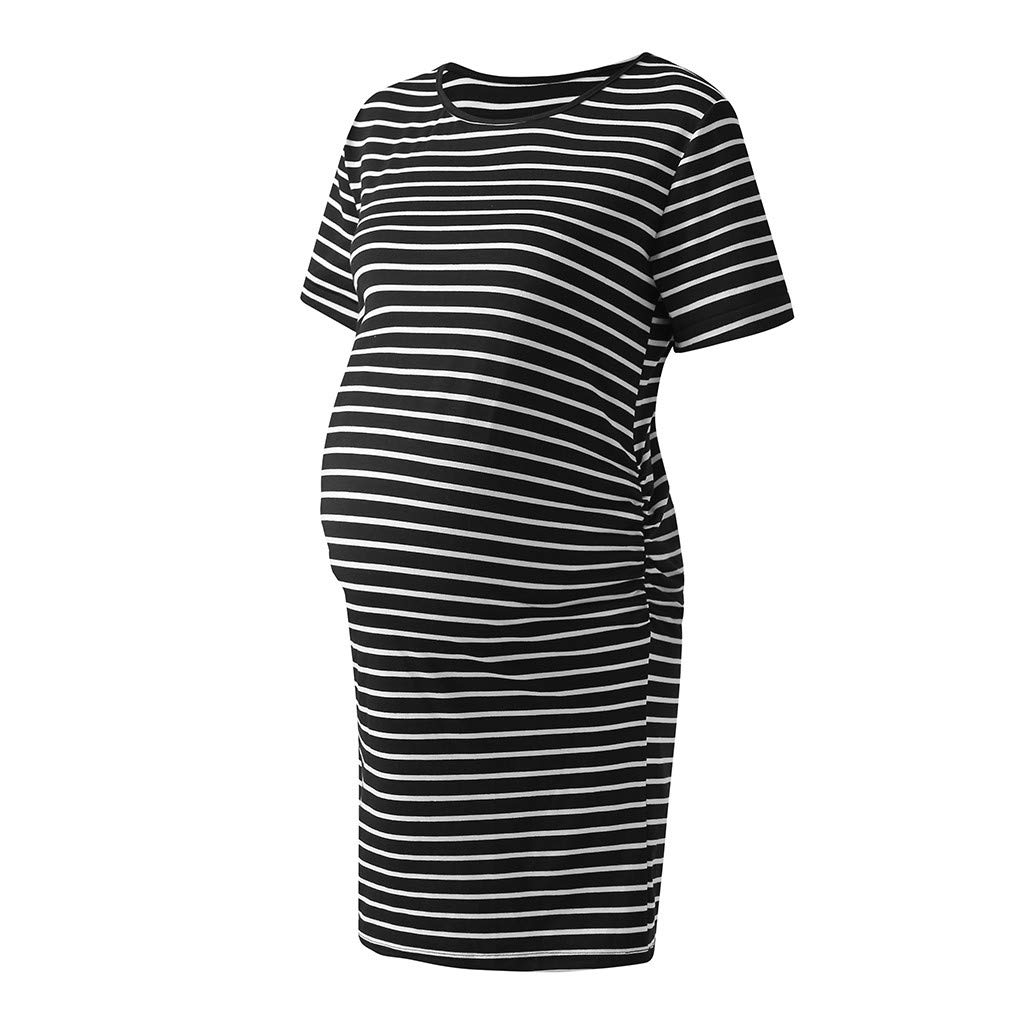 EDTO Dresses Maternity Bodycon Casual Sleeve Side Ruched Crew Neck Midi Vest