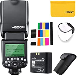 Godox V860II-S High-Speed Sync GN60 1/8000 2.4G TTL Li-on Battery Camera Flash Speedlite Compatible for Sony Camera+LETWING Cloth+Softbox+Color Filter