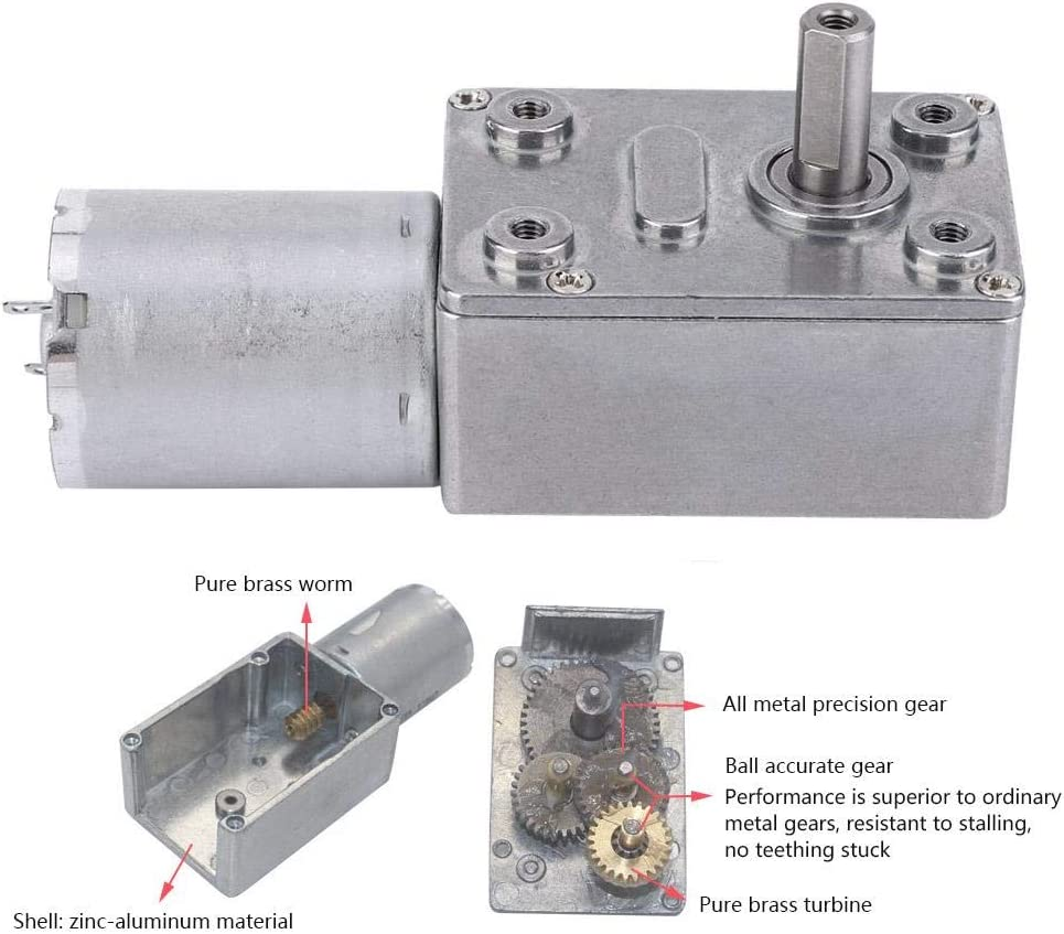30RPM Micro Type Speed Reduction Motor Large Torsion Worm Motor for Multiple Purposes Yanmis DC6V Gear Motor