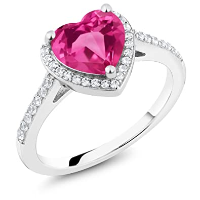 f36db1b36 2.21 Ct Heart Shape Pink Mystic Topaz 925 Sterling Silver Engagement Ring  (Size 5)