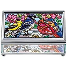 Amia 41760 Beveled Hand-Painted 5 by 3-Inch Glass Jewelry Box, Medium, Songbird Design